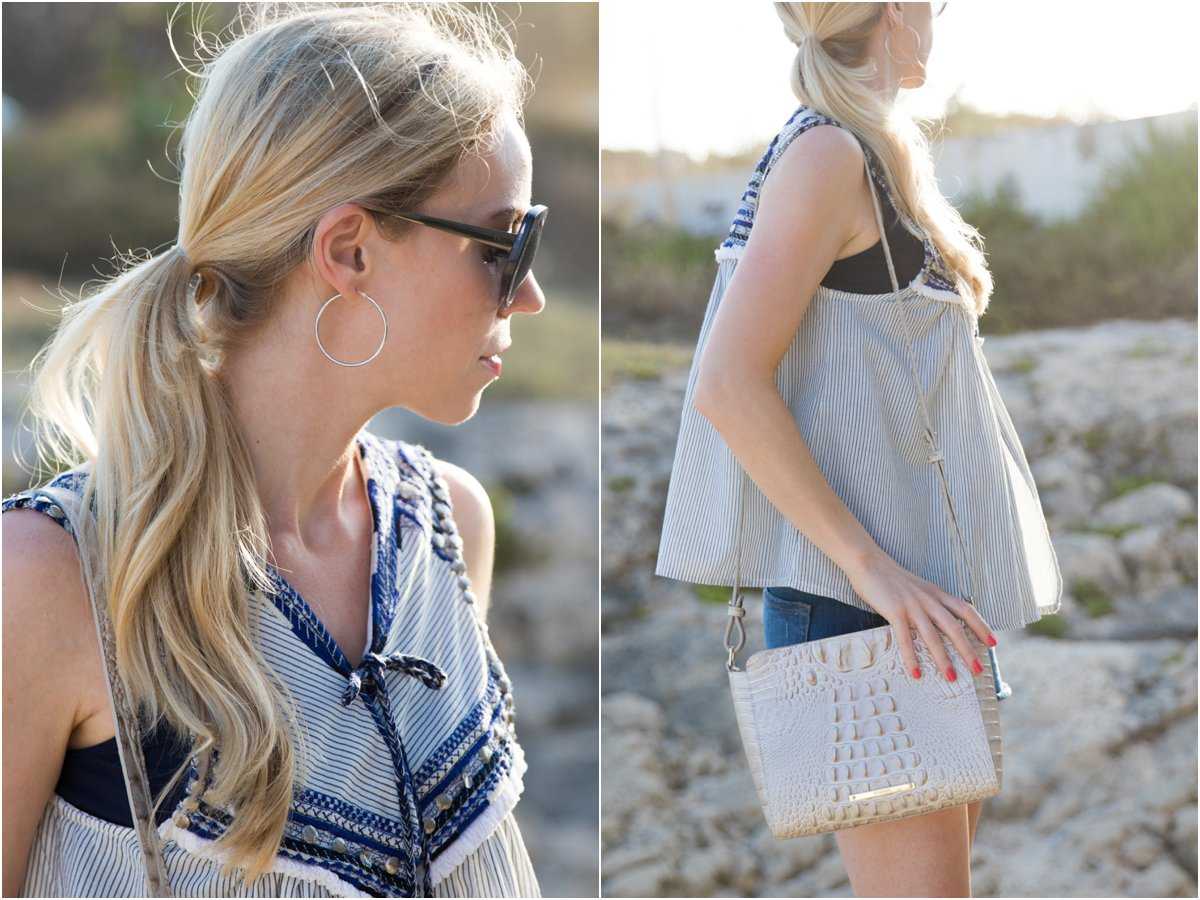 Zara embroidered top with tassel ties, Brahmin 'Carrie' crossbody bag Linen Melbourne, how to wear a peasant top for summer