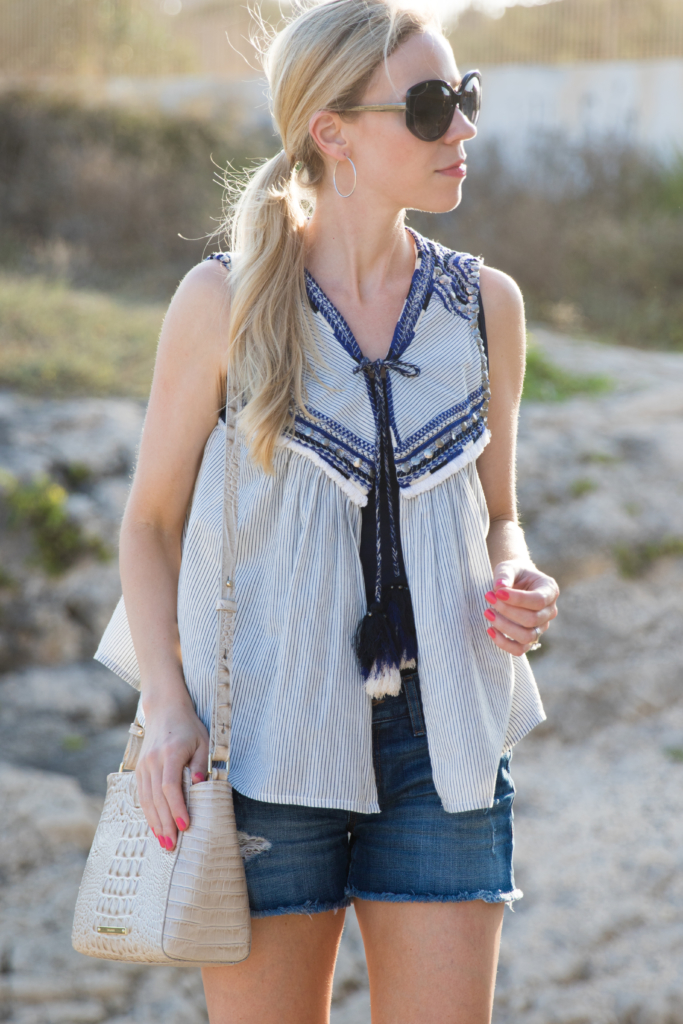 Zara embroidered top with tassel ties, LOFT dark distressed denim cutoff shorts, Brahmin 'Carrie' Linen Melbourne