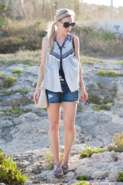 Zara embroidered top with tassel ties, embroidered top with denim cutoff shorts, boho chic look with embroidered top