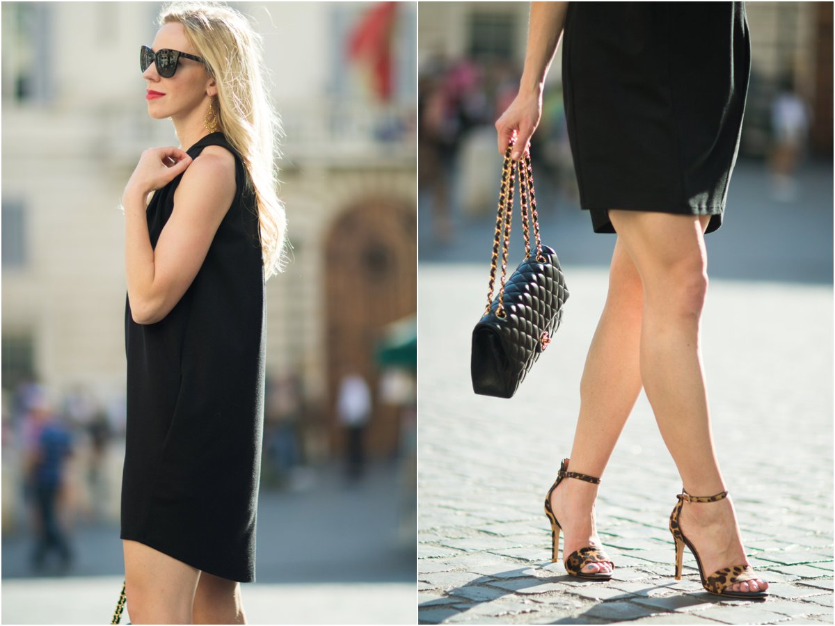 black high:low trapeze dress, Joie leopard print sandals, little black dress with Chanel classic flap bag
