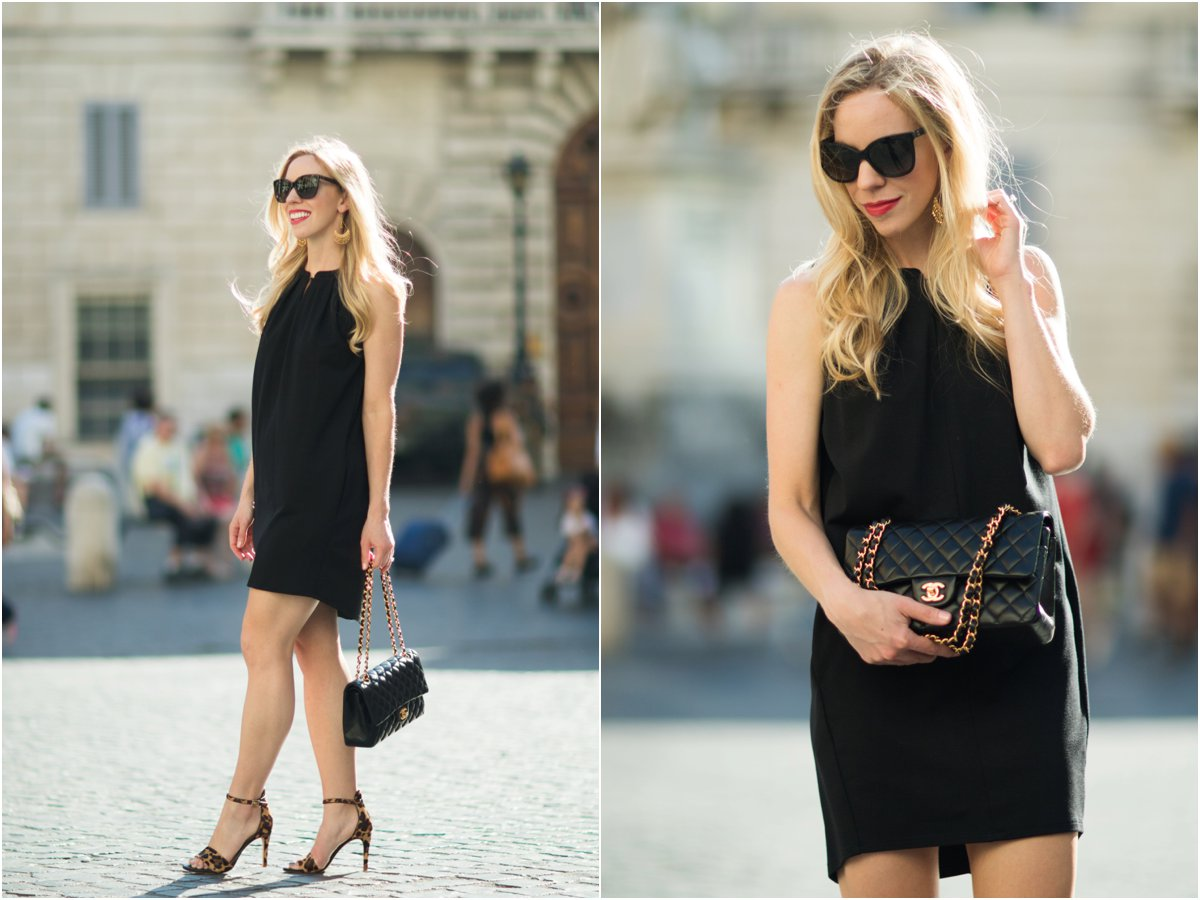 black sleeveless trapeze dress, Chanel medium classic flap bag black with gold hardware, Joie leopard print sandals