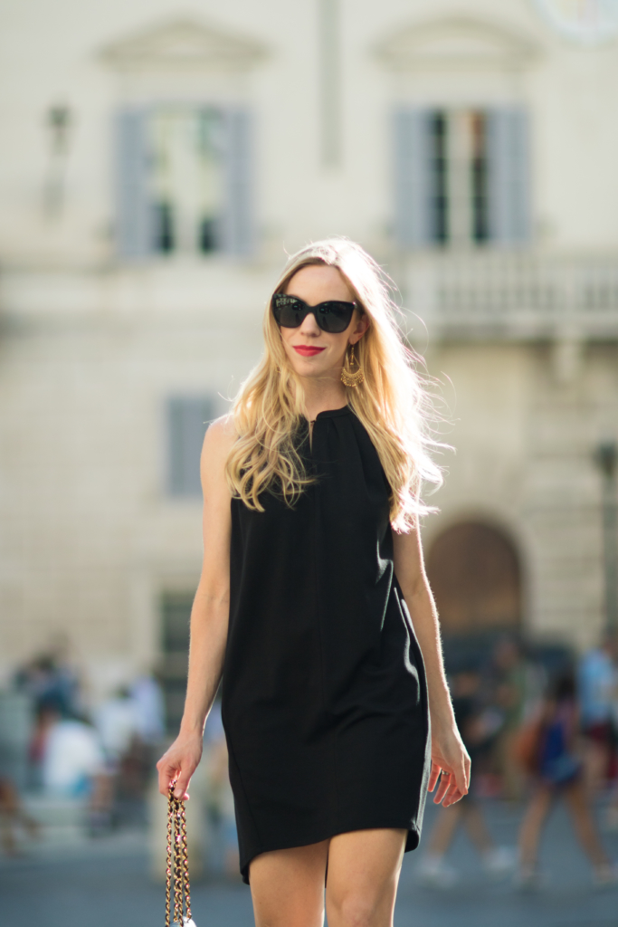 black trapeze dress, Chanel black butterfly sunglasses, fashion blogger Rome Italy