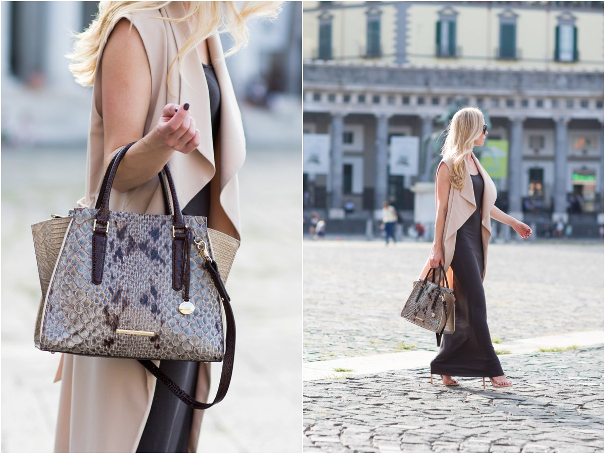 long beige drapey vest over gray maxi dress, Brahmin 'Priscilla' Stone Carlisle snakeskin print satchel, Piazza del Plebiscito fashion shoot Naples Italy