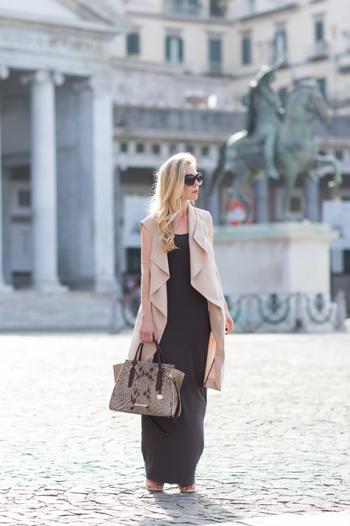 long beige drapey vest worn over maxi dress, Brahmin 'Priscilla' satchel Stone Carlisle, how to wear a long vest