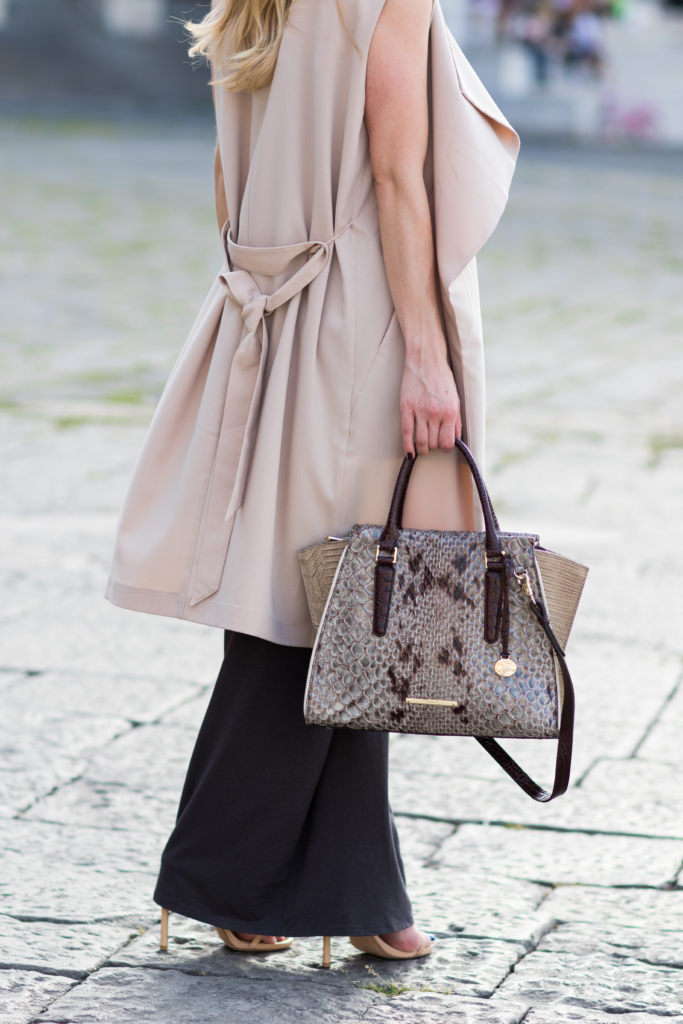 long drapey beige vest over maxi dress, Brahmin 'Priscilla' satchel Stone Carlisle, collaboration with Meagan's Moda