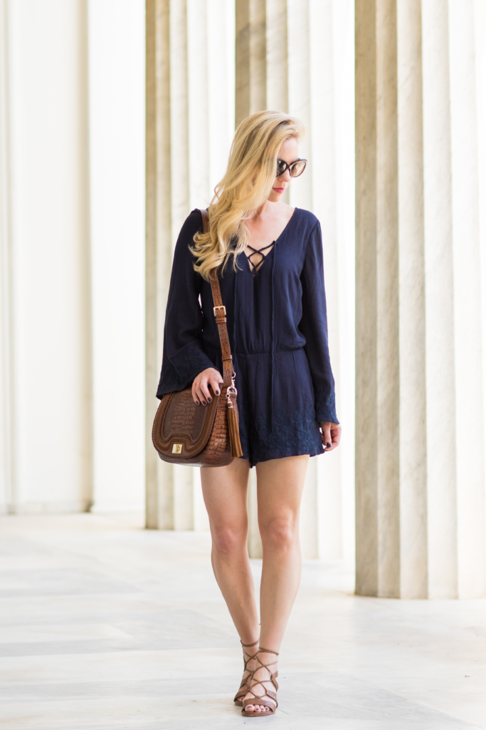 navy lace-up bell sleeve romper, Brahmin 'Sonny' saddlebag Toffee Rockdale, Stuart Weitzman 'Tiegirlbingo' lace up sandals