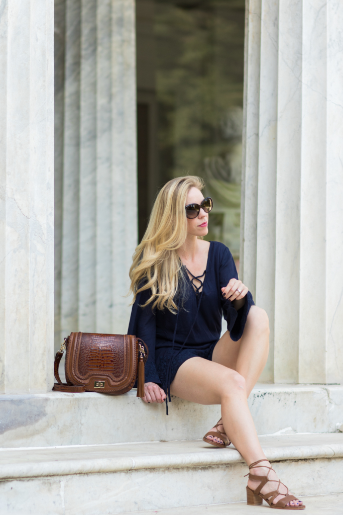 navy lace-up romper, Stuart Weitzman 'Tiegirlbingo' lace up block heel sandals, Brahmin 'Sonny' saddlebag Toffee Rockdale