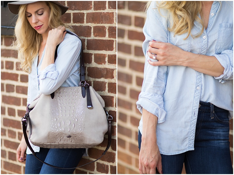 Brahmin 'Delaney' gray suede tote, Rails Carter chambray shirt, Clinique Love Pop lipstick