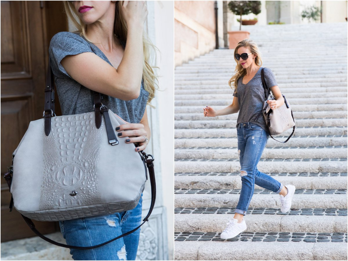 Brahmin 'Delaney' tote smoke wilmington, casual outfit with tee, ripped jeans and Adidas white Superstar sneakers