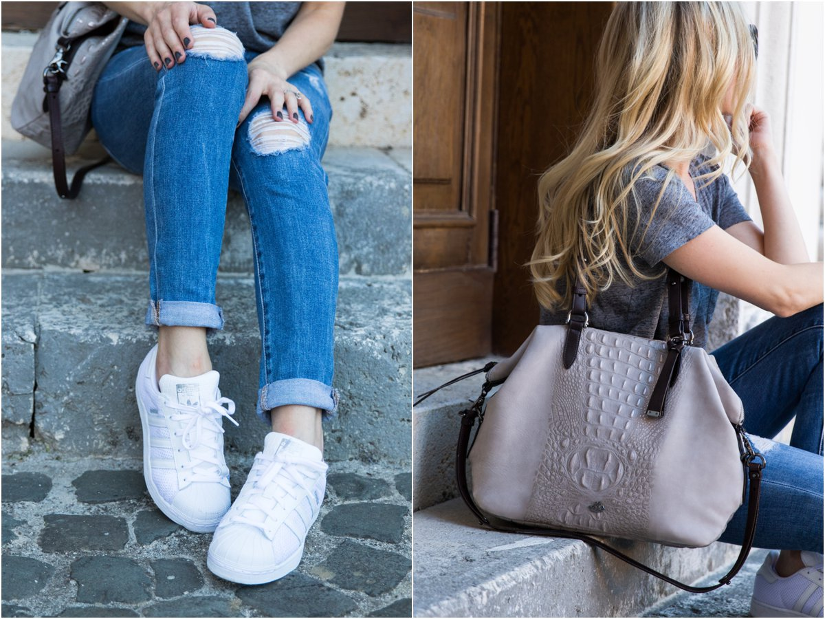 Brahmin 'Delaney' tote smoke wilmington gray suede, Adidas 'Superstar' white sneakers, gray suede handbag
