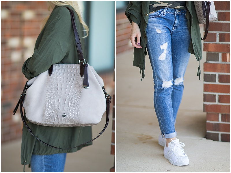 Brahmin 'Delaney' tote smoke wilmington suede, AG Jeans Stilt Crop 17 year riot, ripped jeans with white sneakers outfit