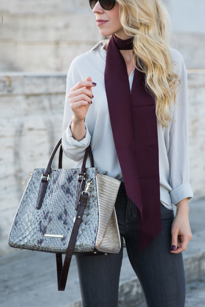 Brahmin 'Priscilla' satchel stone carlisle snakeskin, how to wear a skinny scarf, burgundy skinny scarf with gray blouse