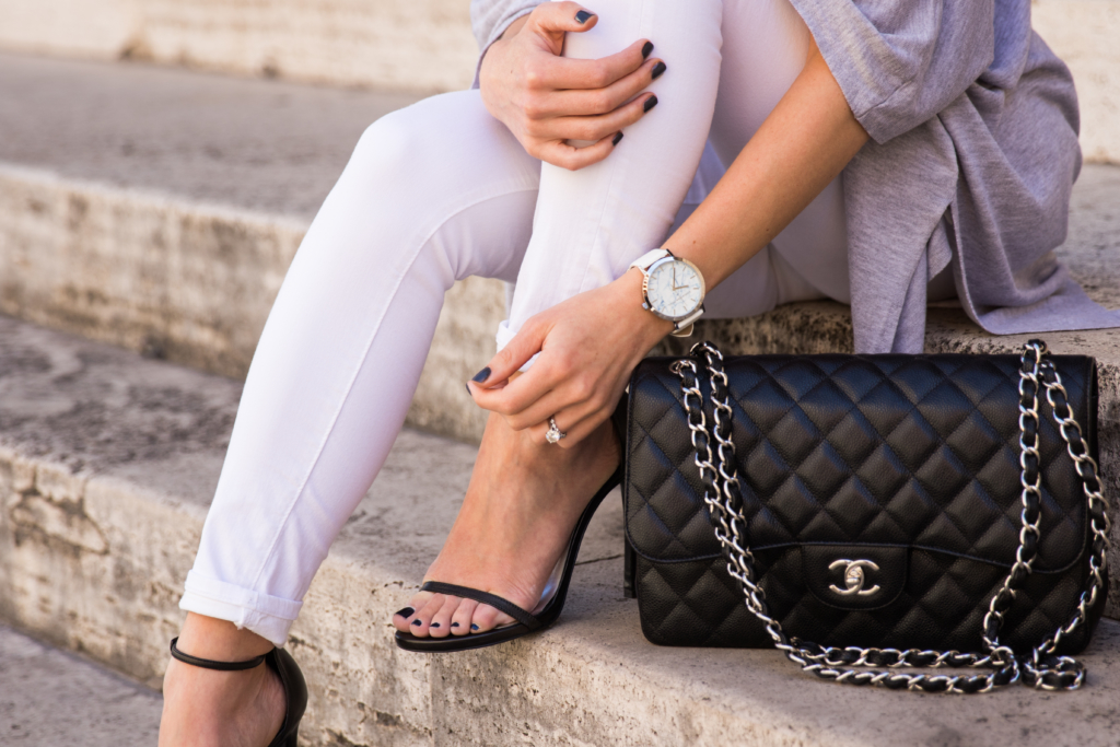 Chanel Jumbo flap bag black caviar leather with silver hardware, Christian Paul white marble face watch, Meagan's Moda Christian Paul watch collaboration