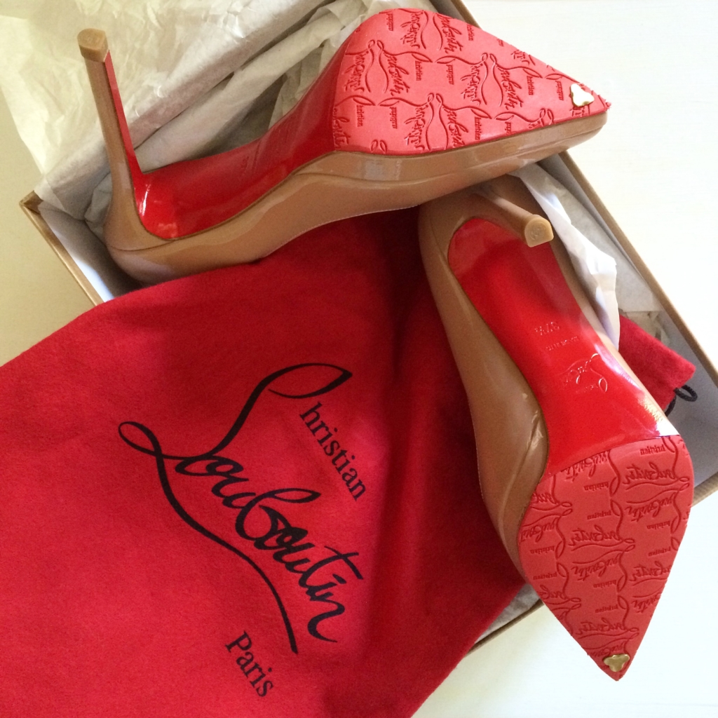 Christian Louboutin nude pigalle plato platform pumps, how to get red rubber sole on Christian Louboutins in Paris France