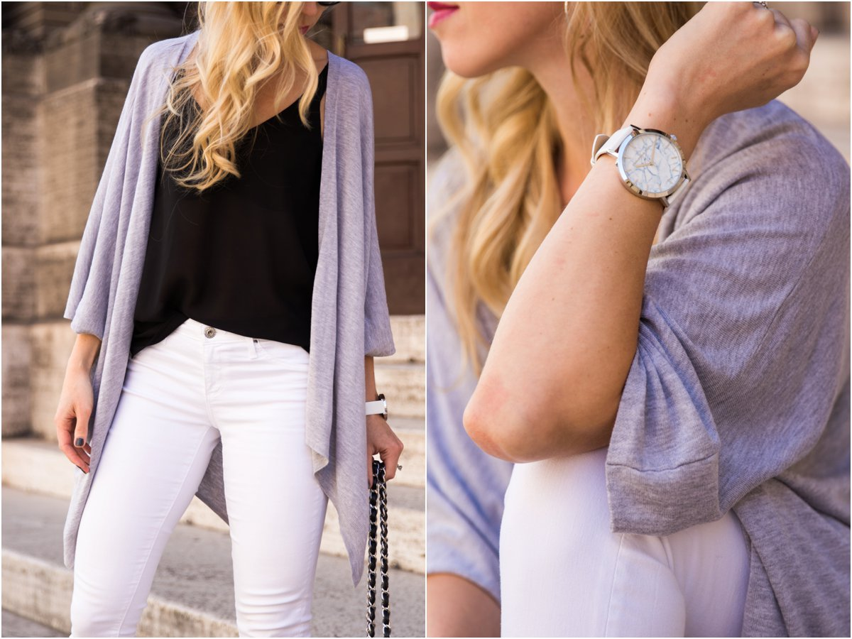 Christian Paul Watches white marble face watch with white leather band, collaboration with Meagan's Moda fashion blogger