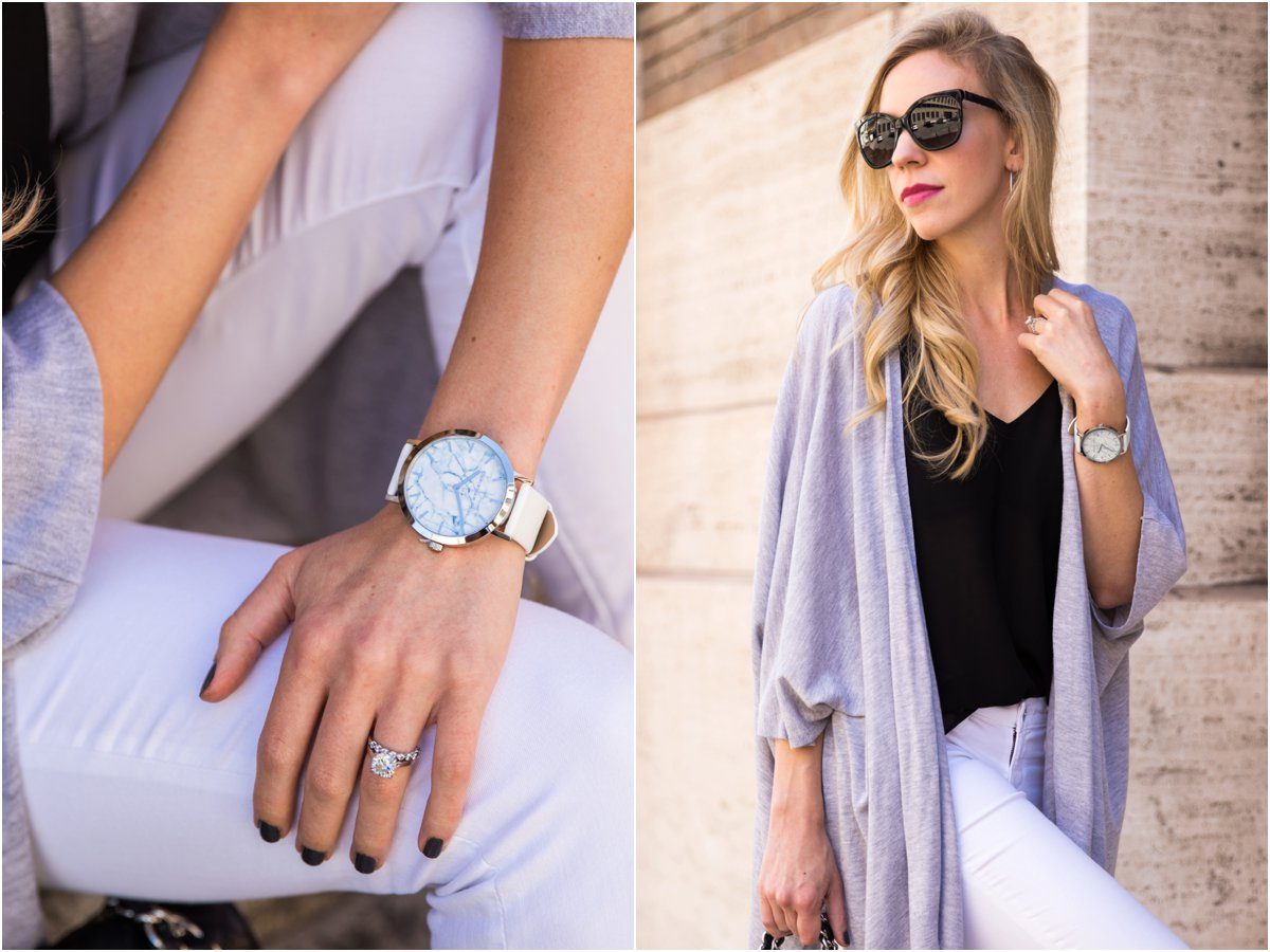 Christian Paul collaboration with Meagan's Moda, marble face watch with white leather band