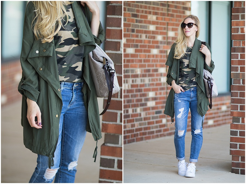 Express drapey utility jacket, utility jacket with camo tee outfit, how to wear camo and look chic, casual outfit with camo and ripped denim