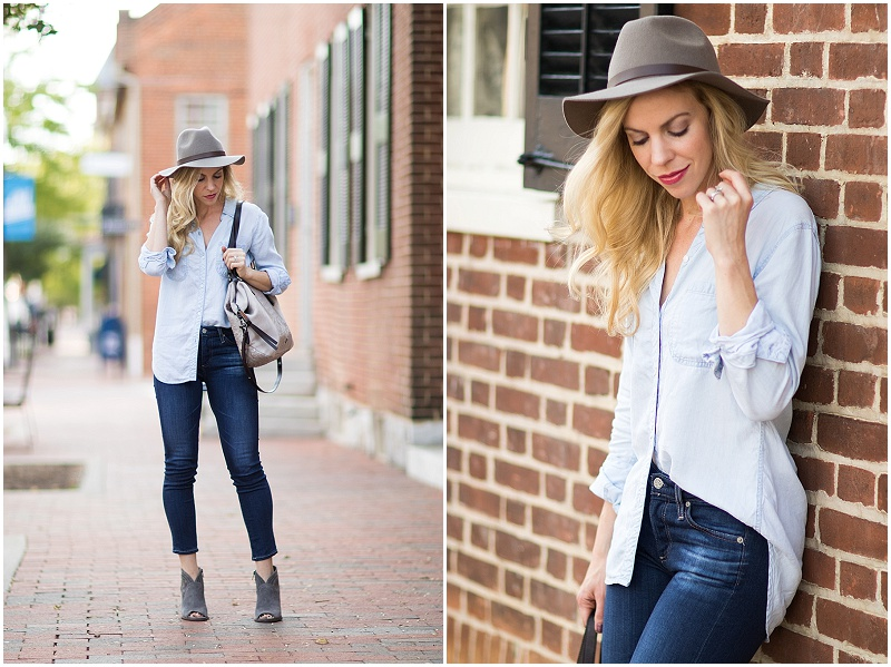 H&M gray fedora, chambray shirt with dark blue jeans, how to wear denim on denim trend