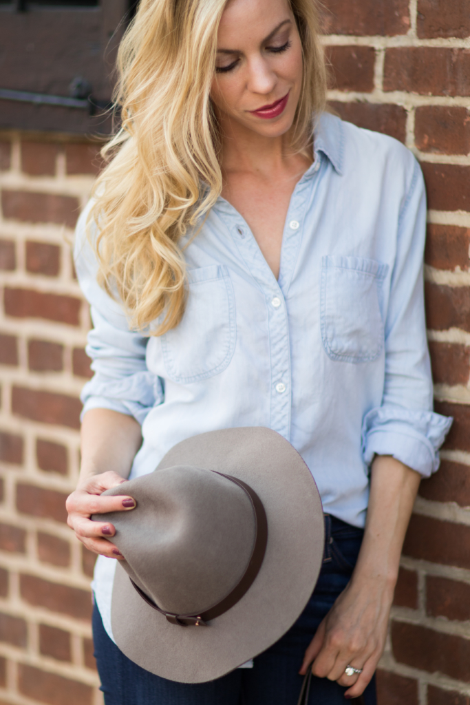 H&M gray wool fedora, Rails LA Carter chambray shirt