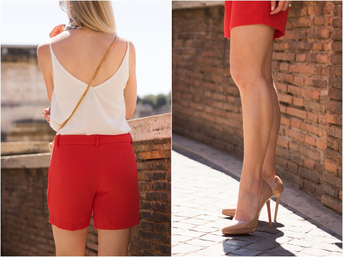 J. Crew bright red pleated city shorts, Christian Louboutin nude pigalle plato platform pumps