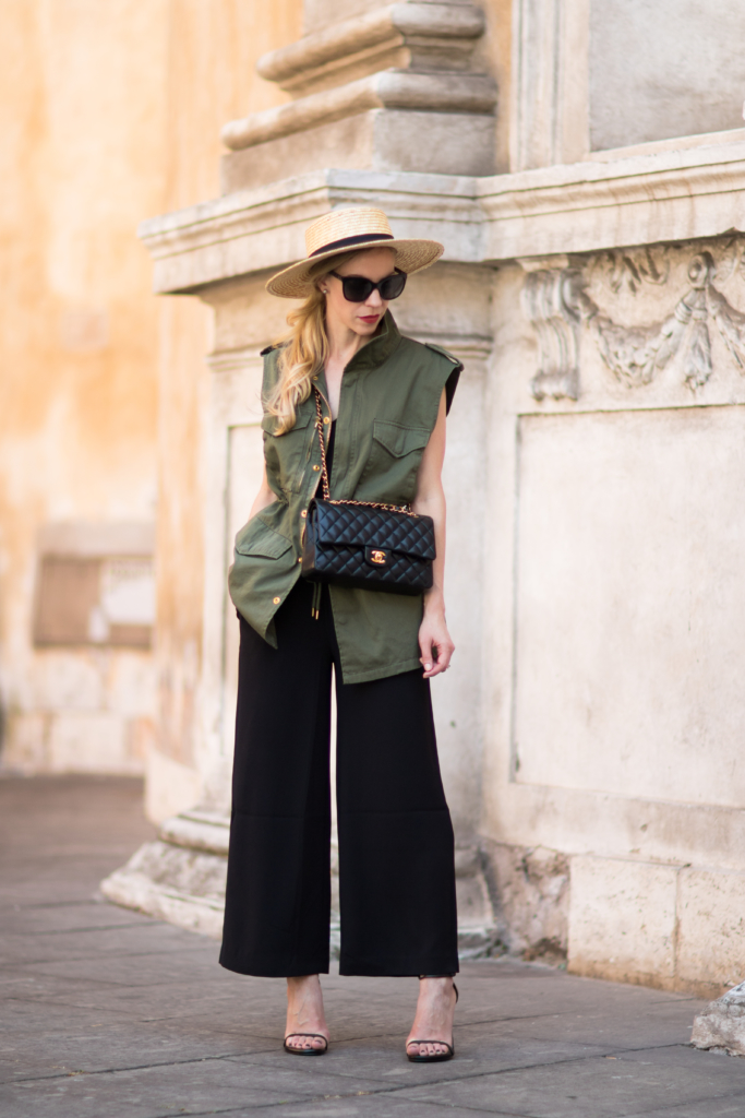 LOFT culotte jumpsuit, long utility vest, how to wear a utility vest with wide leg pants, fashion blogger Rome Italy