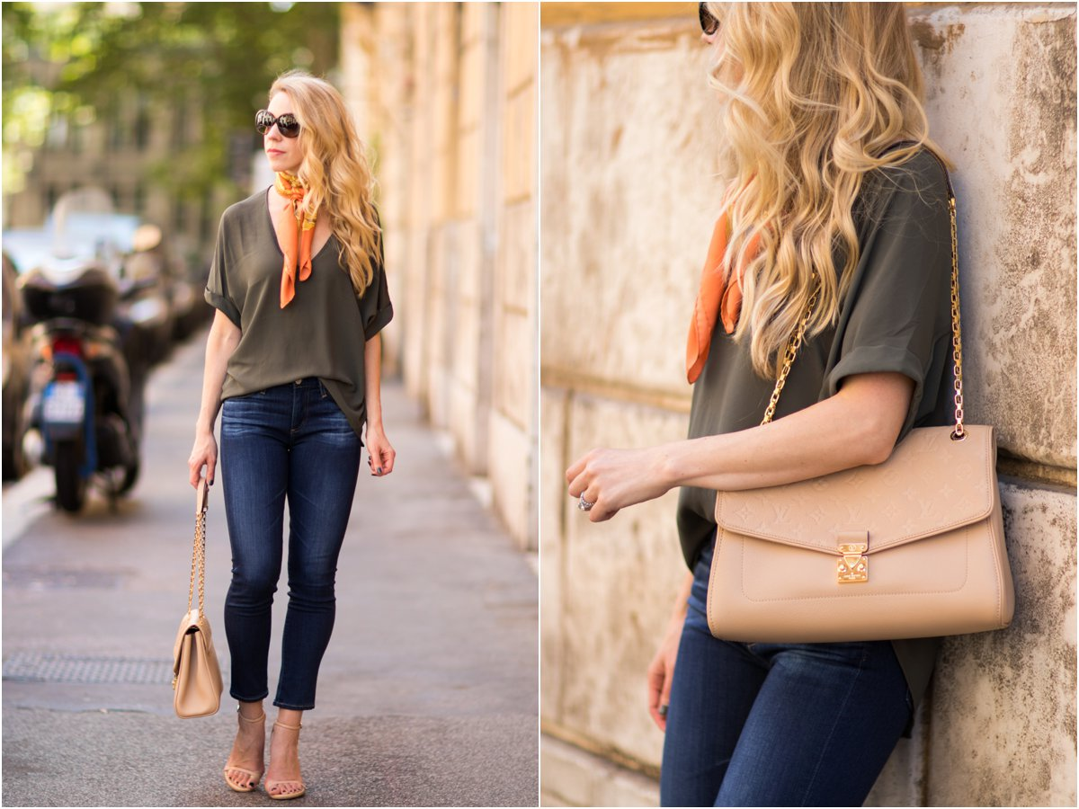 Louis Vuitton St. Germain bag dune leather, beige Louis Vuitton handbag, AG Prima Crop jeans, fashion blogger Rome Italy