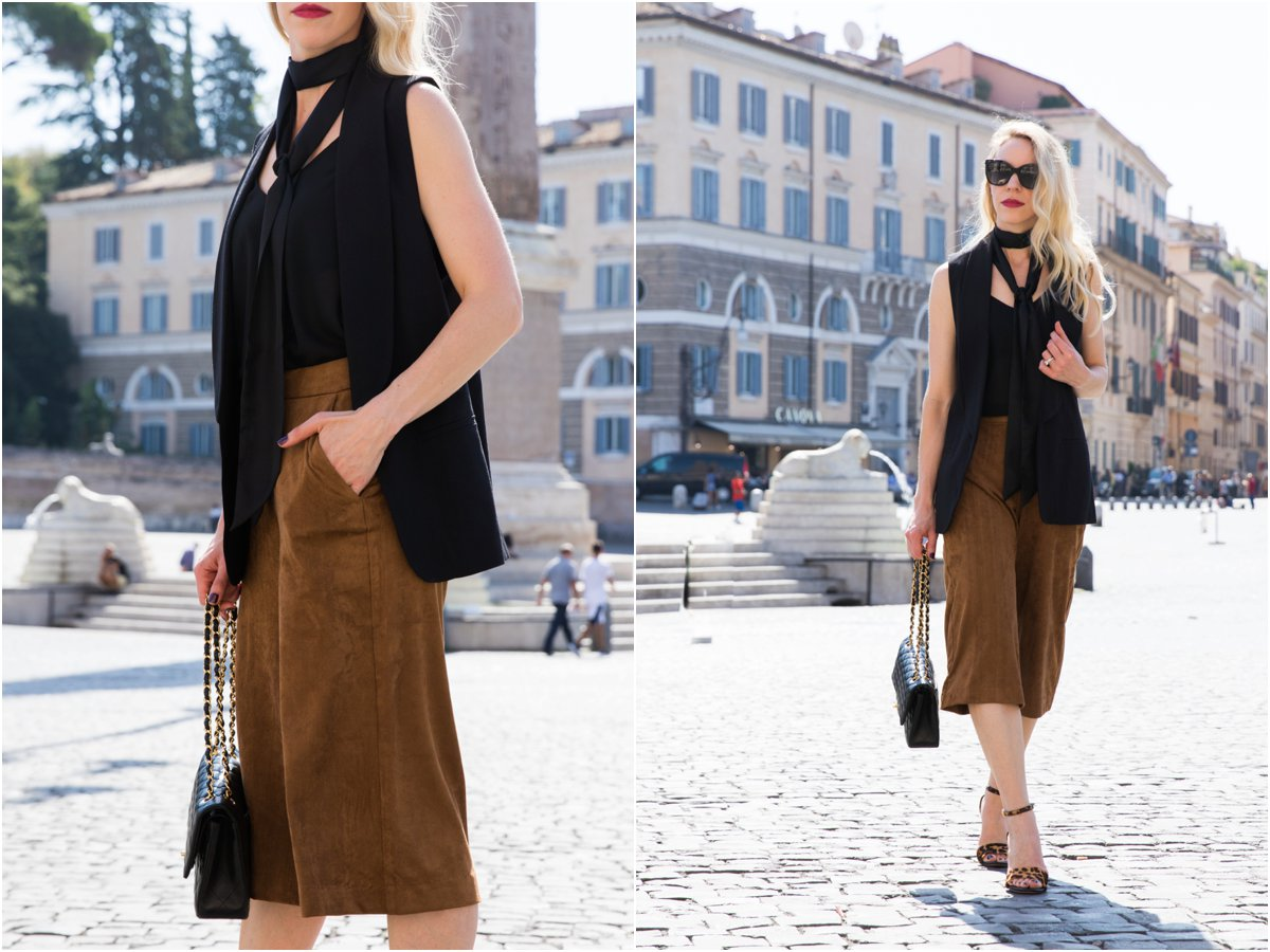 Old Navy faux suede culottes, how to wear suede pants, long black vest worn with skinny scarf, how to wear a skinny scarf