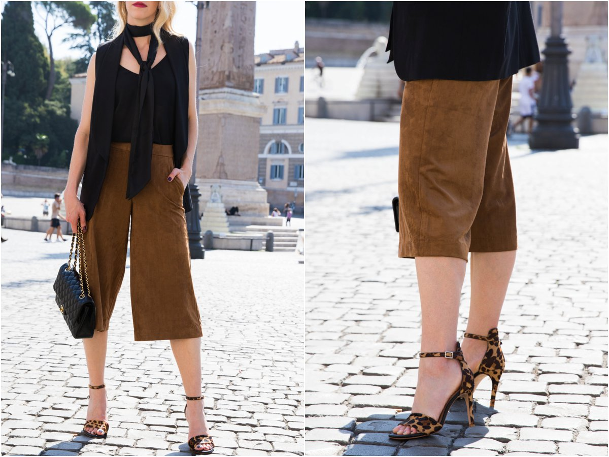 Old Navy faux suede culottes, long black vest with black skinny scarf, leopard print sandals, how to wear a skinny scarf, suede pants outfit