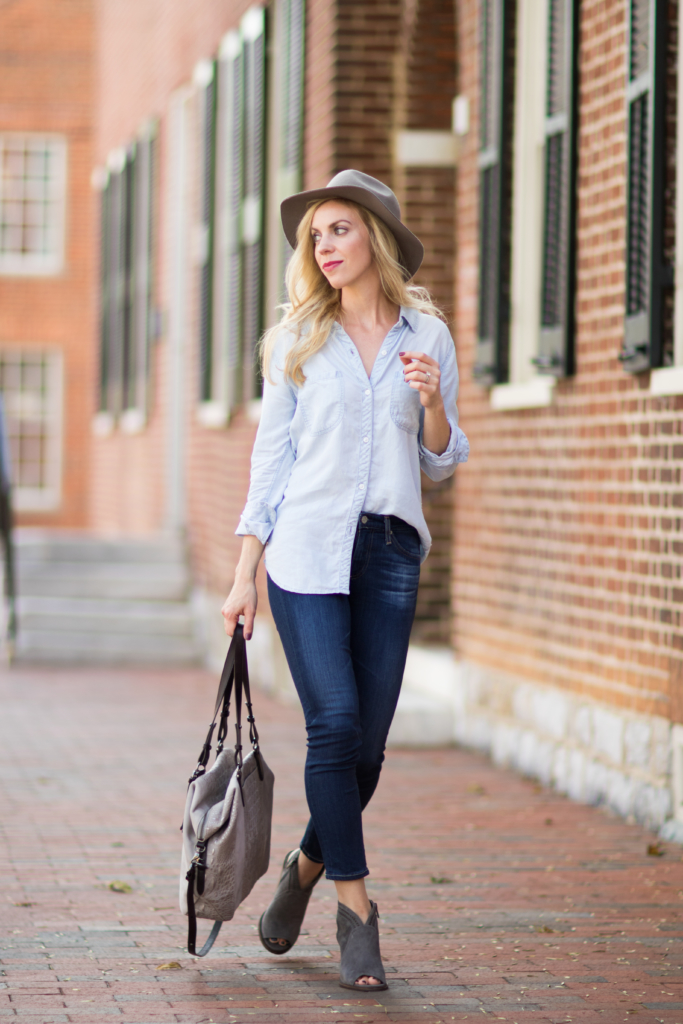 Rails 'Carter' chambray shirt, AG Jeans Prima Crop jeans, gray suede peep toe booties, Brahmin 'Delaney' suede tote