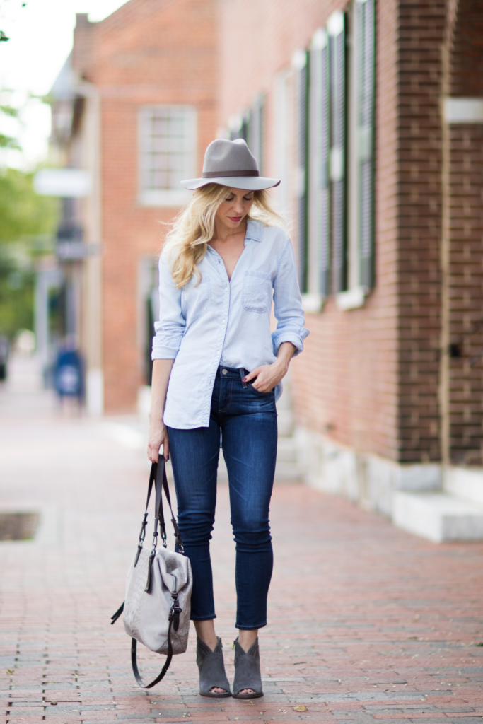 Rails 'Carter' chambray shirt with dark denim jeans, how to wear denim on denim, gray suede peep-toe booties