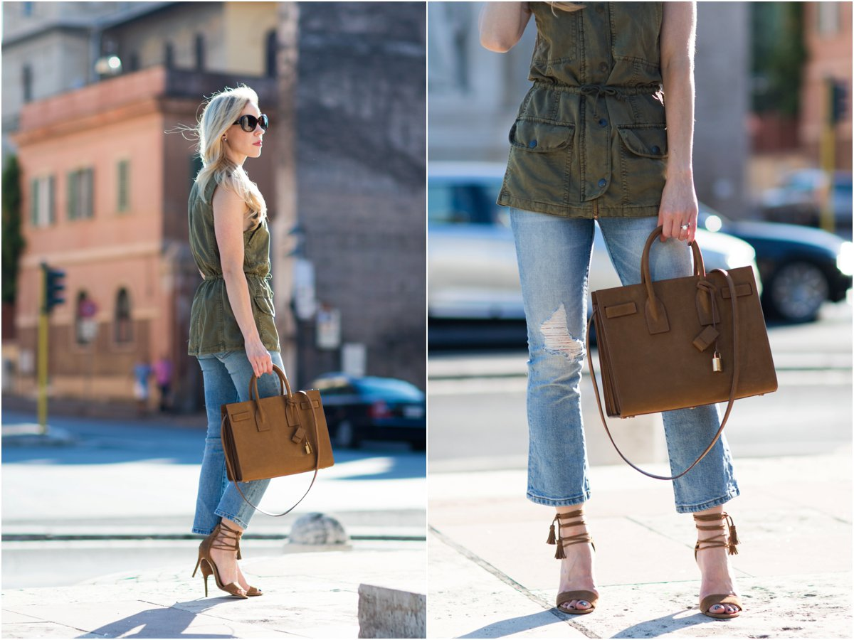 Saint Laurent Sac de Jour russet suede, Ann Taylor lace-up suede sandals, how to wear a utility vest as a top, tan suede YSL handbag