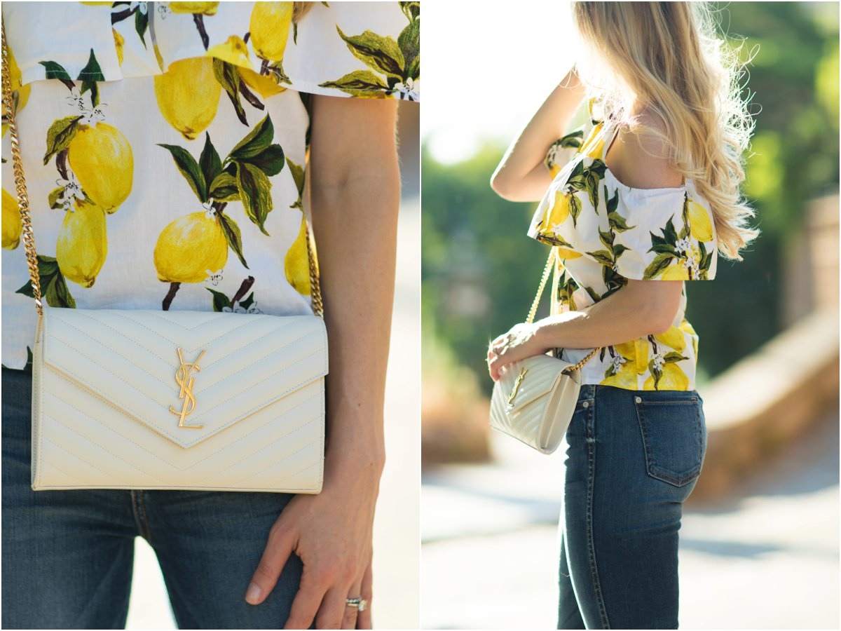 Saint Laurent white monogram matelasse chain wallet, lemon print cold shoulder top, lemon print summer outfit