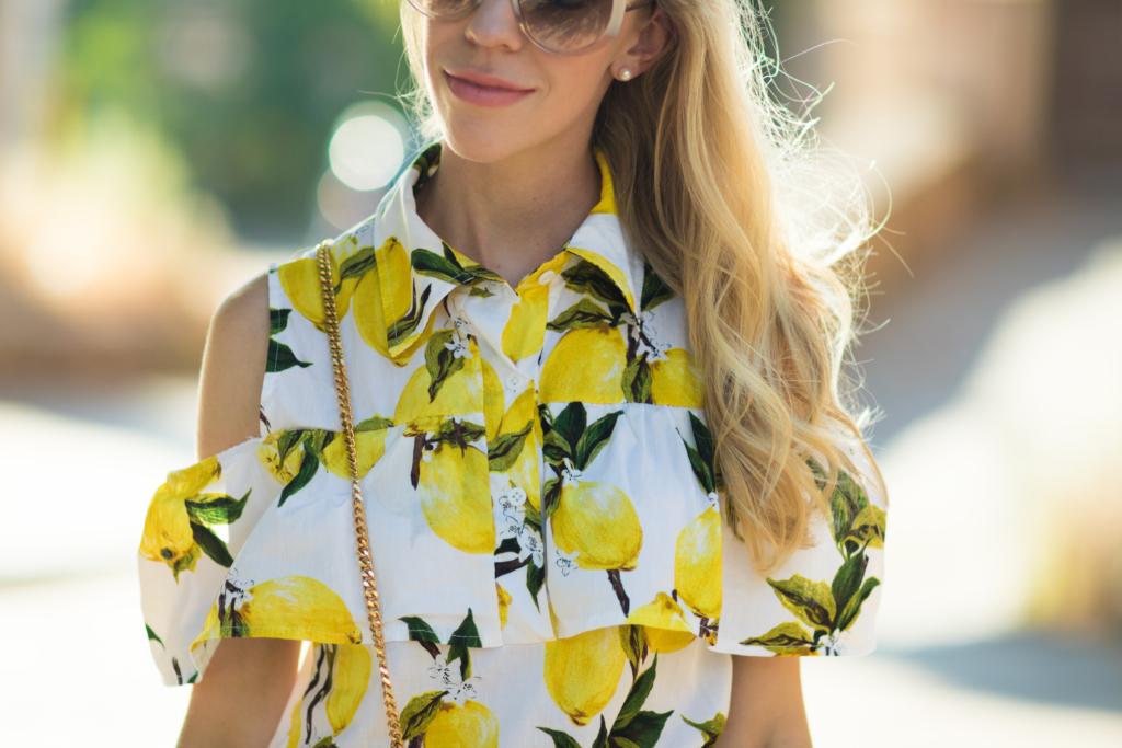 SheIn cold shoulder lemon print button up top, Clinique 'Melon Pop' lipstick