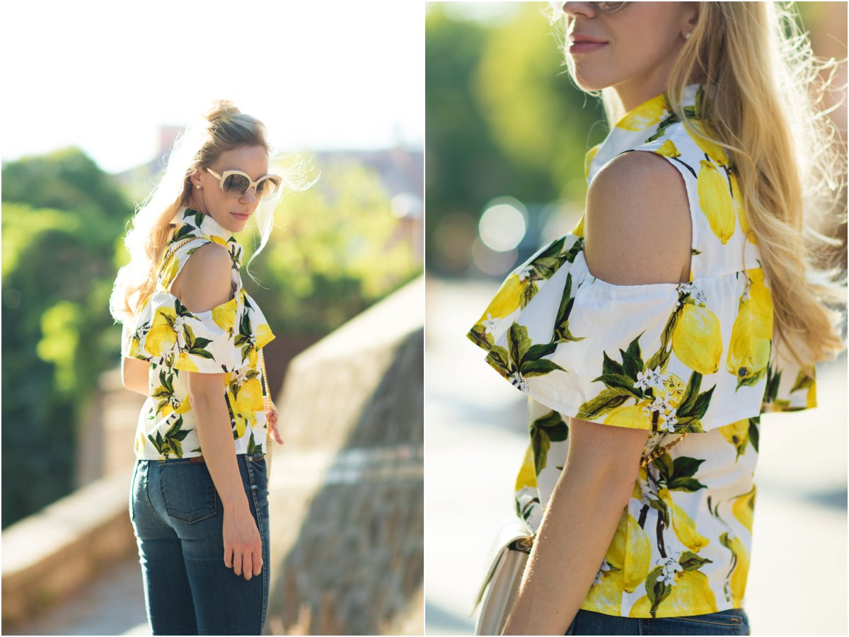 SheIn cold shoulder lemon print top with high waist jeans, how to wear the half bun hairstyle, lemon print top summer outfit