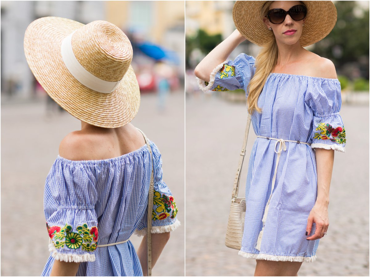 SheIn striped off the shoulder dress with wide brim hat, off the shoulder dress with embroidered sleeves