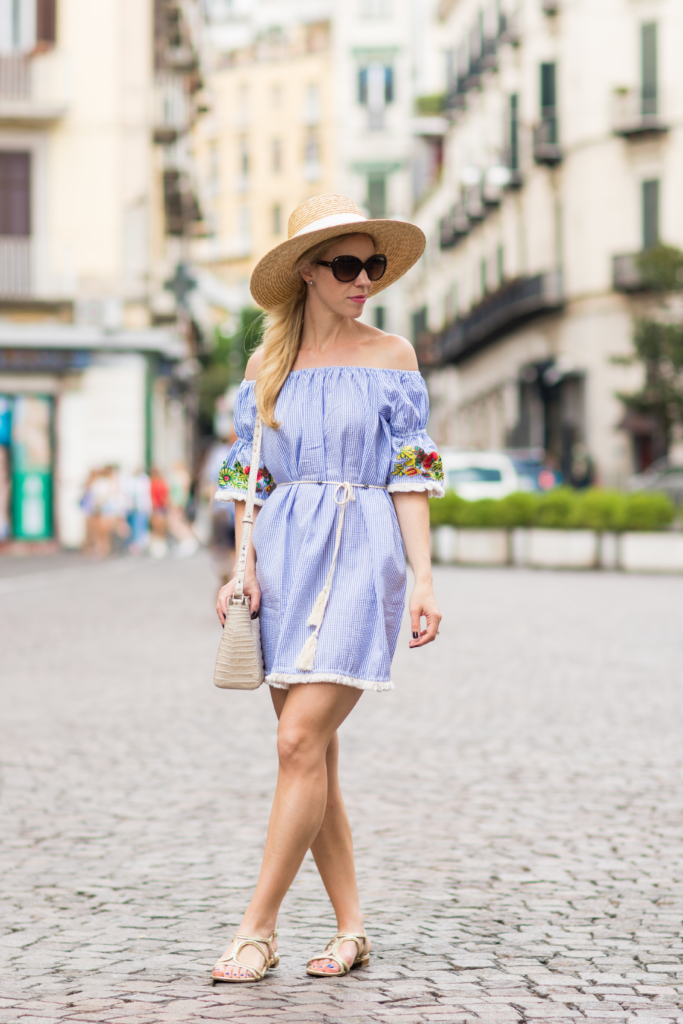 SheIn striped off the shoulder seersucker dress with embroidery, embroidered off the shoulder dress with boater hat outfit, Stuart Weitzman 'Samoa' gold sandals
