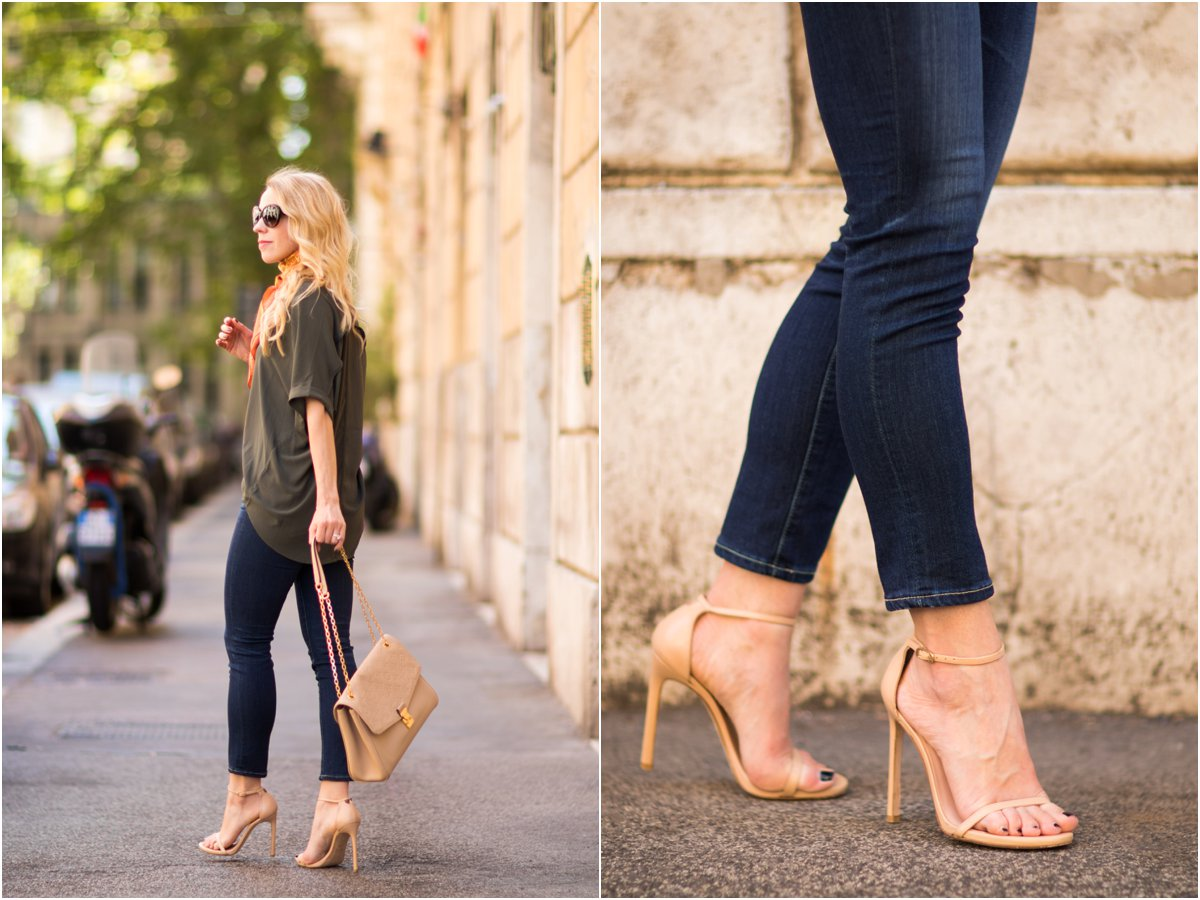 Stuart Weitzman 'Nudist' stiletto sandal adobe, AG Jeans Prima Crop, hi-low hem tee outfit, fashion blogger Rome Italy