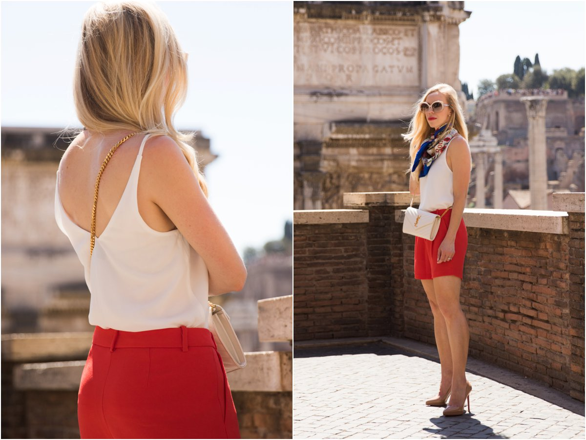TopShop camisole, bright red pleated shorts, how to wear bright red, American fashion blogger in Rome