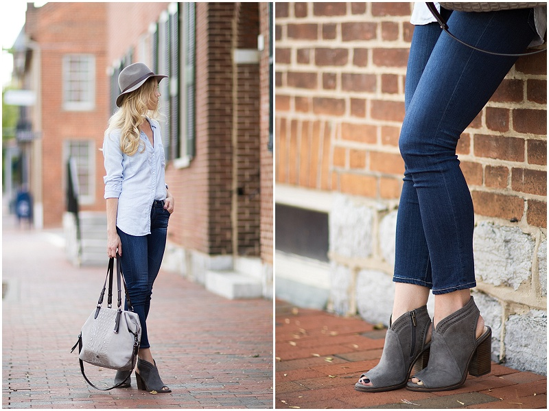 Vince Camuto Koral gray suede peep-toe booties, AG Jeans Prima Crop 4 years grassland, denim on denim outfit