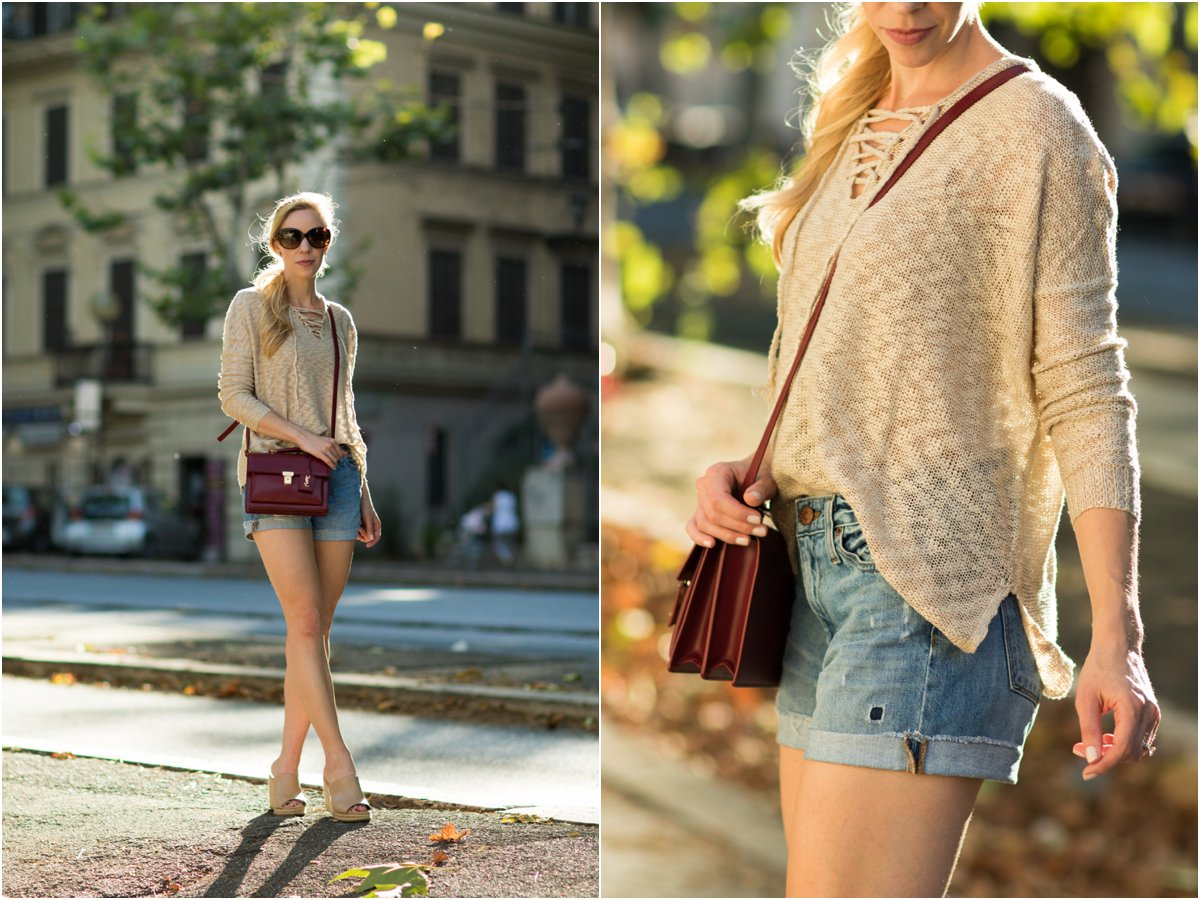 beige lace-up sweater with distressed denim shorts and mule wedges, Saint Laurent High School satchel oxblood red