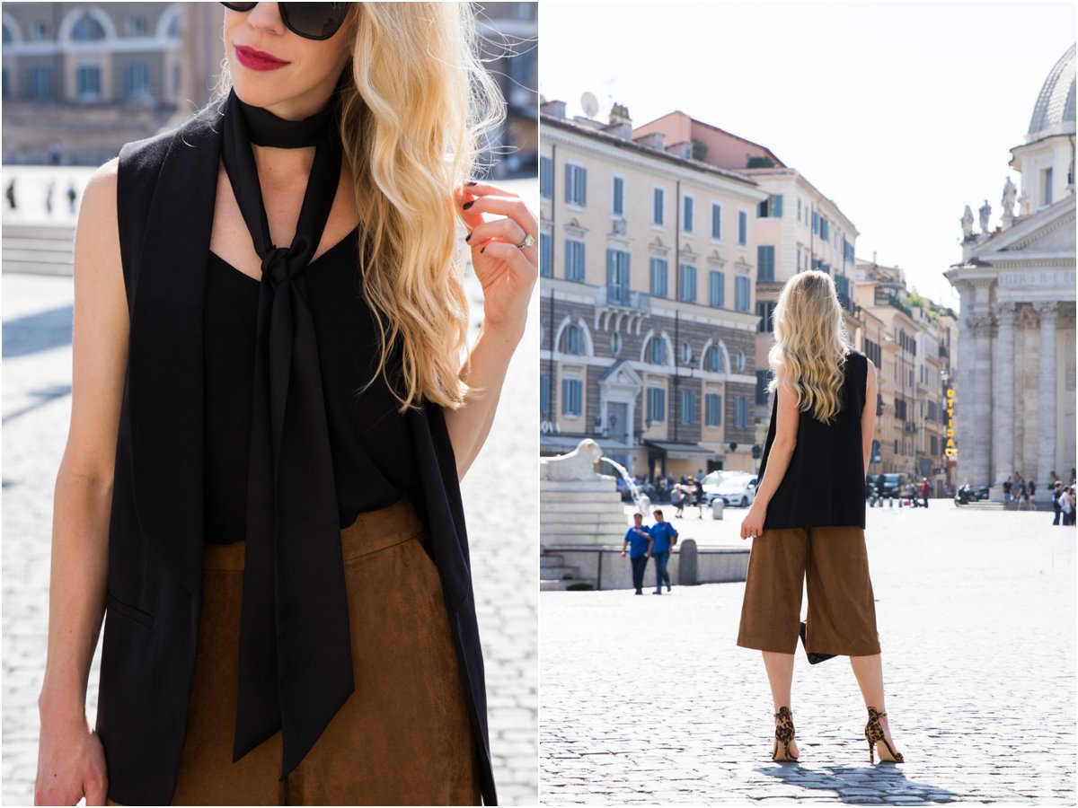 black vest with skinny scarf and suede culottes, how to wear a skinny scarf, skinny scarf outfit with vest, American fashion blogger Rome Italy