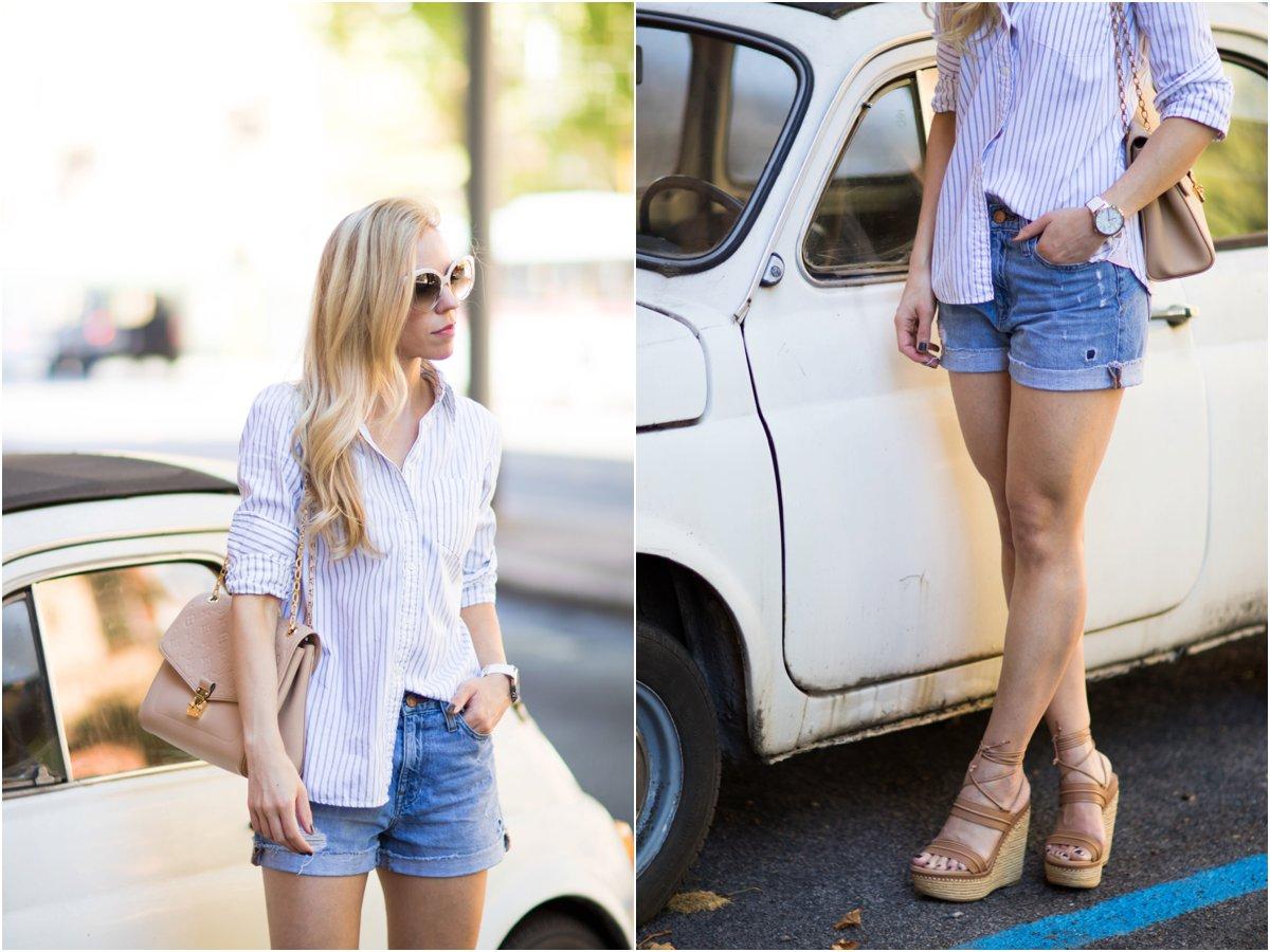 blue and white pinstripe button down shirt, denim boyfriend shorts, Stuart Weitzman 'Abandon' lace-up sandals, American fashion blogger in Italy