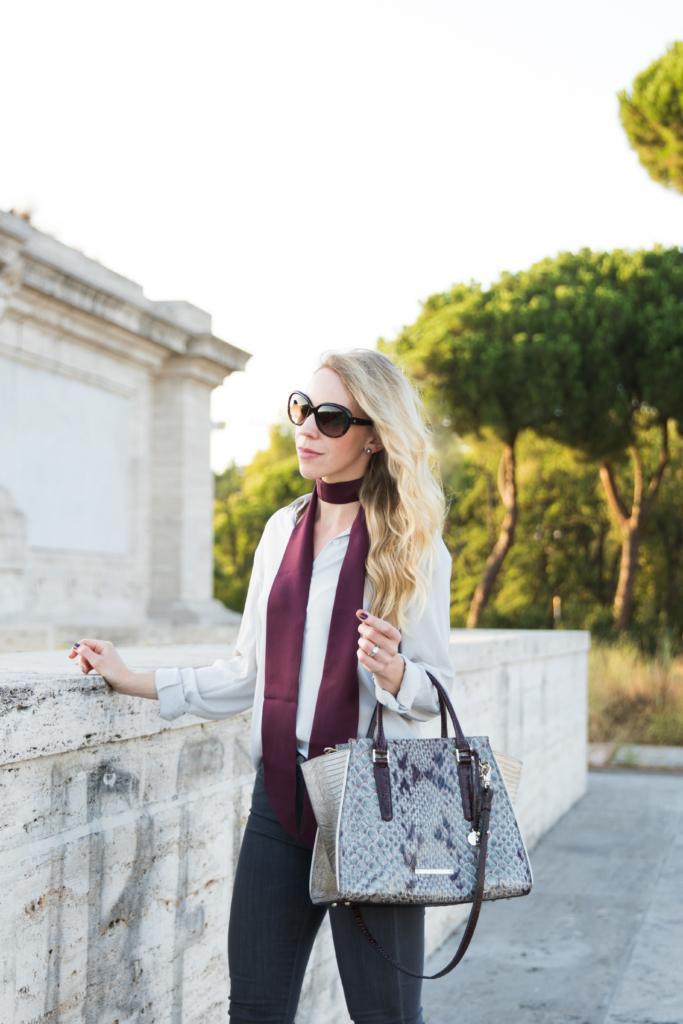 burgundy silk scarf, skinny scarf outfit, how to tie a skinny scarf, Brahmin 'Priscilla' stone carlisle