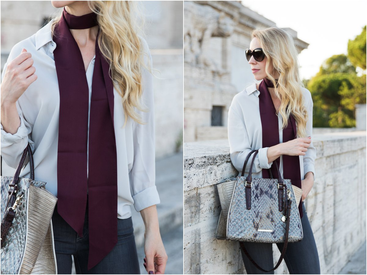 burgundy skinny scarf, how to tie a skinny scarf, Brahmin 'Priscilla' satchel stone carlisle, skinny scarf outfit