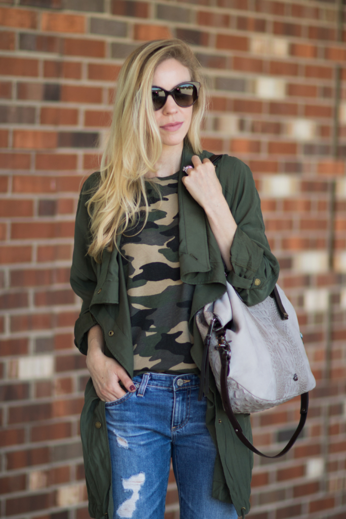 camo print tee shirt with drapey utility jacket, utility jacket with distressed jeans, Brahmin 'Delaney' tote smoke wilmington