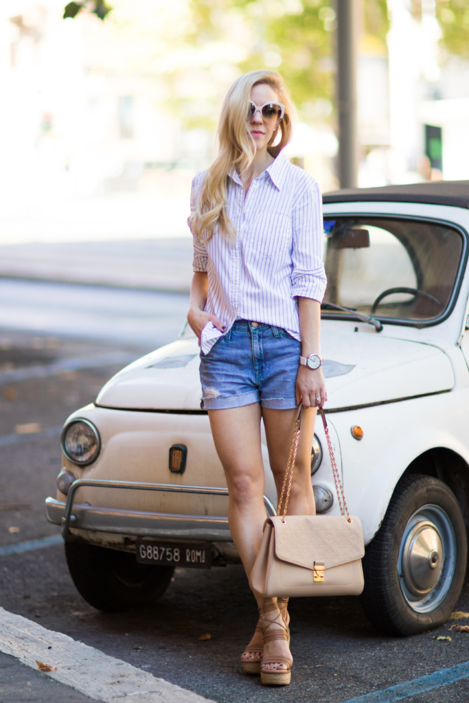 classic blue and white striped button down with denim shorts, Stuart Weitzman 'Abandon' lace-up wedge sandal, Louis Vuitton St. Germain bag dune leather