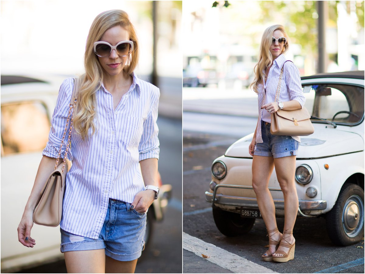 classic outfit with striped button down shirt, denim shorts, and wedge sandals, Stuart Weitzman 'Abandon' wedge sandal, stylish outfit with struped button down shirt