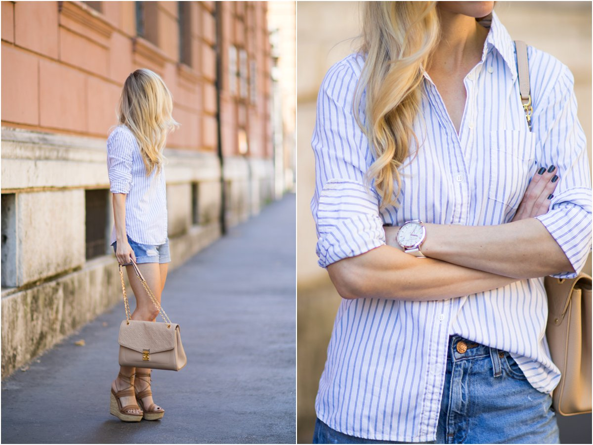 classic striped button down shirt, denim shorts, Stuart Weitzman 'Abandon' lace-up wedge sandals, classic style with striped shirt