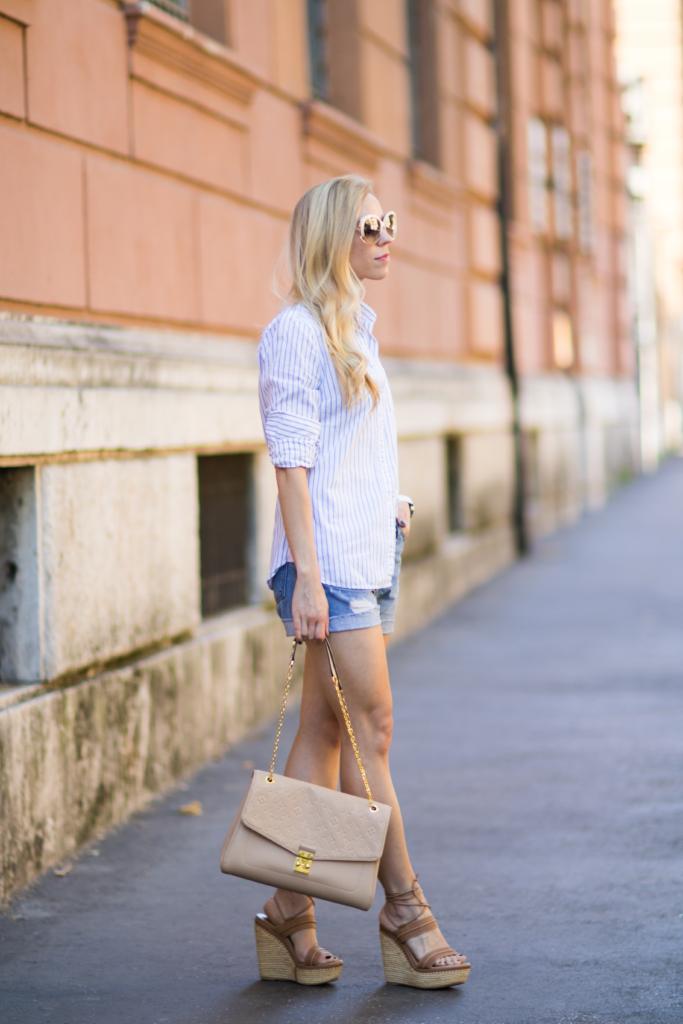 classic striped button down shirt with denim shorts, Louis Vuitton St. Germain monogram bag, Stuart Weitzman 'Abandon' lace-up sandals, fashion blogger Rome Italy