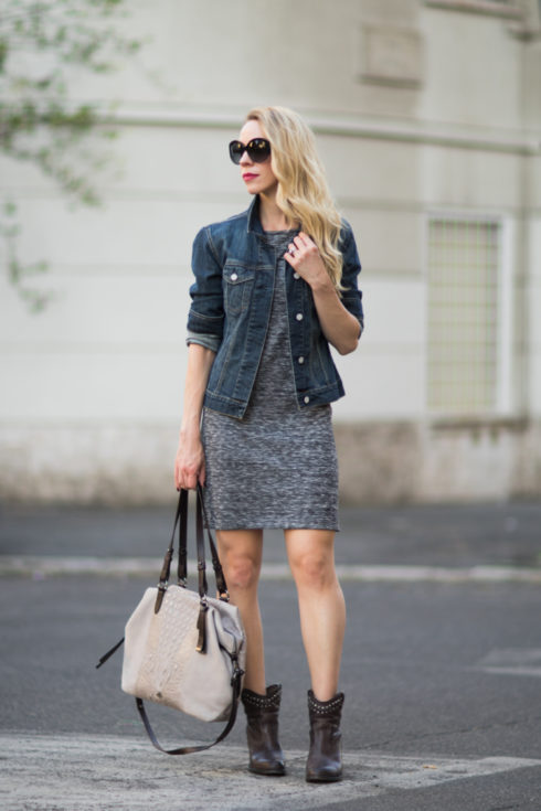 denim jacket worn over shift dress, Brahmin 'Delaney' suede tote, Frye 'Jenny Cut Stud' booties, edgy outfit with denim jacket